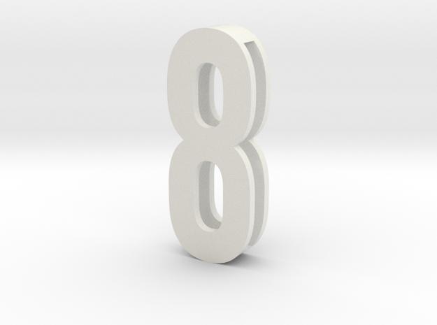 Choker Slide Letters (4cm) -Number  8 in White Natural Versatile Plastic