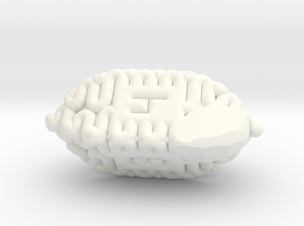 Brain d4 in White Strong & Flexible Polished