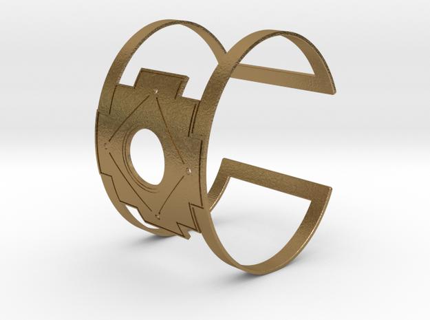 Inca Cross Wide Cuff Bracelet Simple in Polished Gold Steel: Small