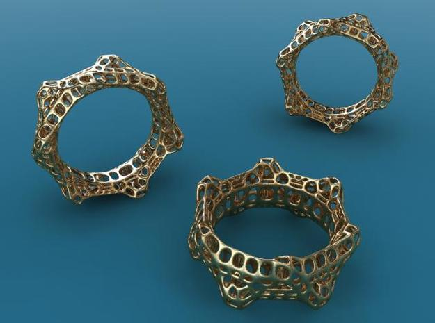 Wheelturning Ring 3d printed Gold plated glossy render