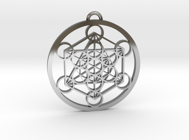 Metatron's Cube in Fine Detail Polished Silver