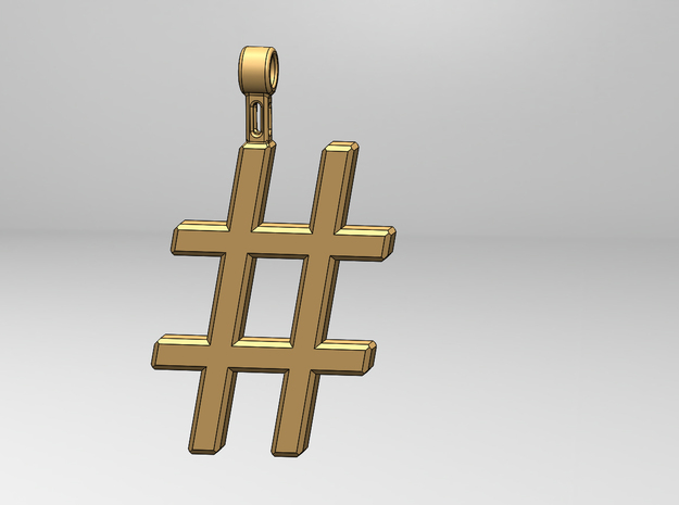 Hashtag Necklace in Polished Nickel Steel