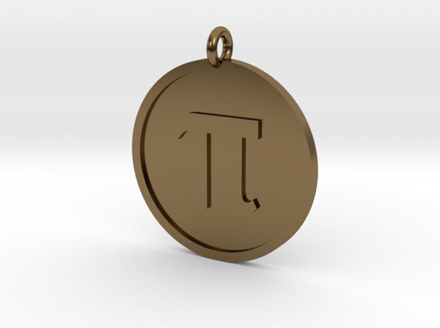 Pi Pendant in Polished Bronze