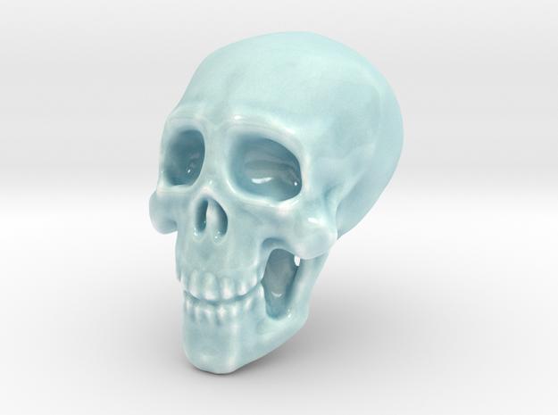 Larger Porcelain Skull in Gloss Celadon Green Porcelain