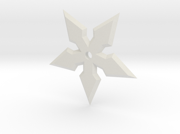 5 Point Ninja Star in White Natural Versatile Plastic