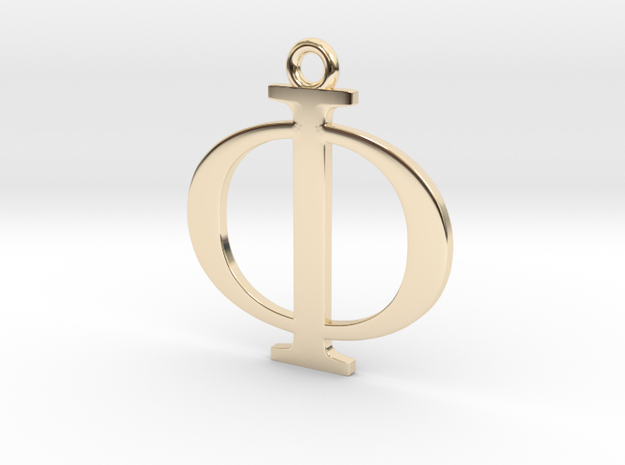 Phi Golden Ratio Pendant in 14k Gold Plated Brass