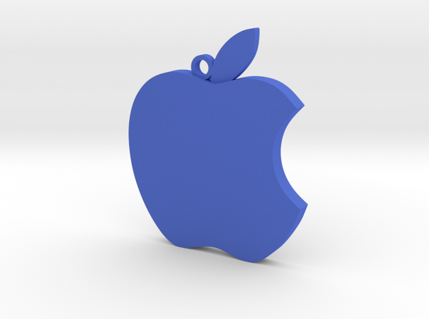 Apple logo in 3D in Blue Strong & Flexible Polished