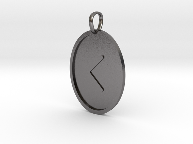 Kenaz Rune (Elder Futhark) in Polished Nickel Steel