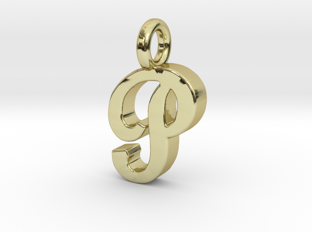 P - Pendant 2mm thk. in 18k Gold Plated Brass