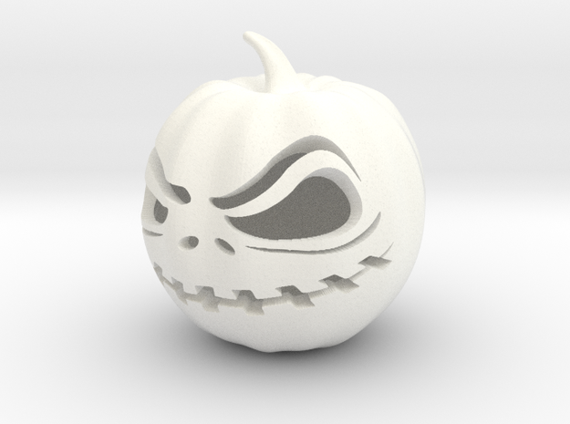 Scary Halloween Jack-O-Lantern Pumpkin Cutout in White Processed Versatile Plastic