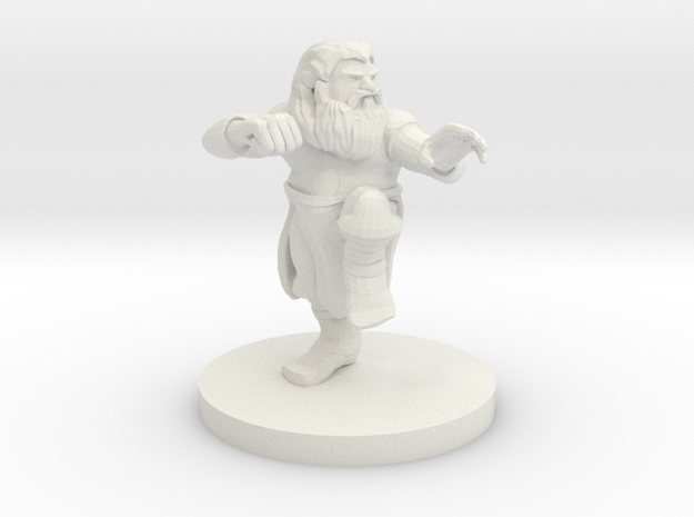 Dwarf Monk with Glorious Hair in White Natural Versatile Plastic