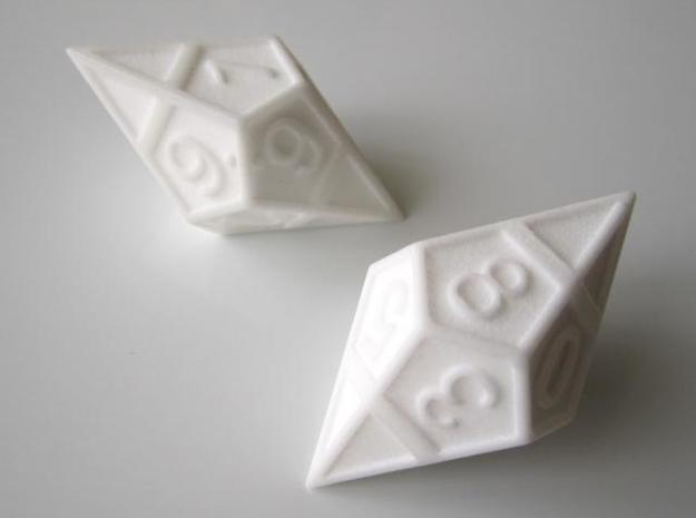 D10 Framed Diamond Dice in White Strong & Flexible Polished