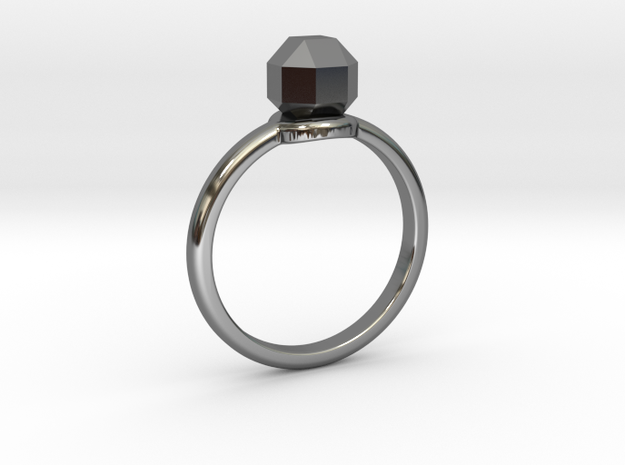 The ring with a diamond 1 carat in Fine Detail Polished Silver: 7 / 54
