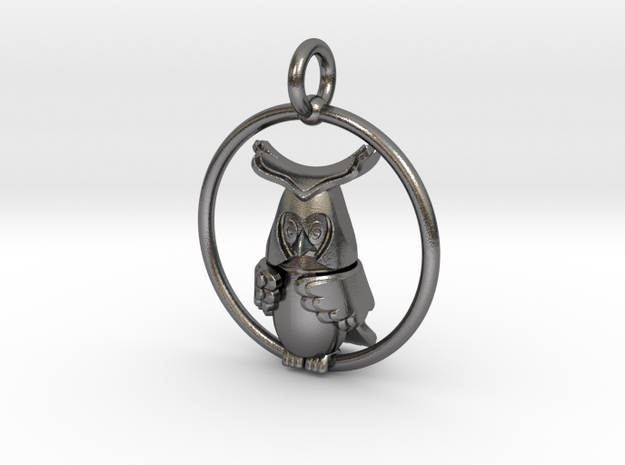 Owl pendant  in Polished Nickel Steel