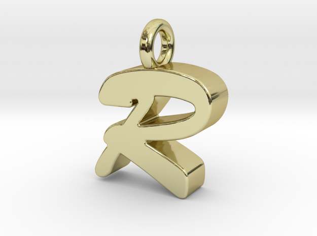 R - Pendant 3mm thk. in 18k Gold Plated Brass