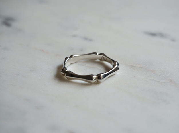 Pentagonal Ring in Polished Silver: 8 / 56.75