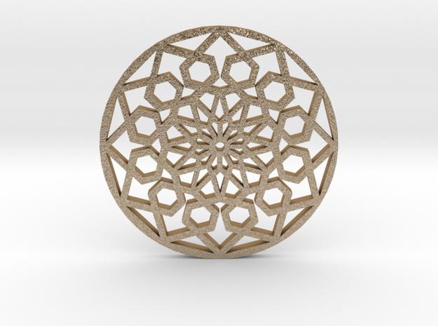 Geo-Mandala in Matte Gold Steel: Medium