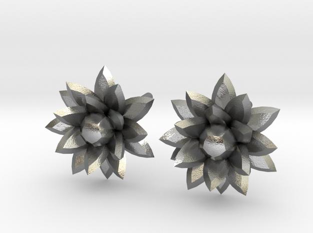 Silver crystal ear rings in Raw Silver