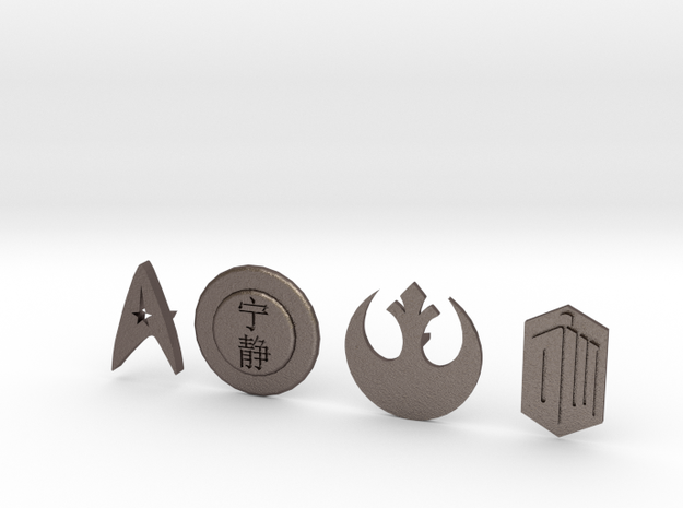 SciFi pins in Polished Bronzed Silver Steel