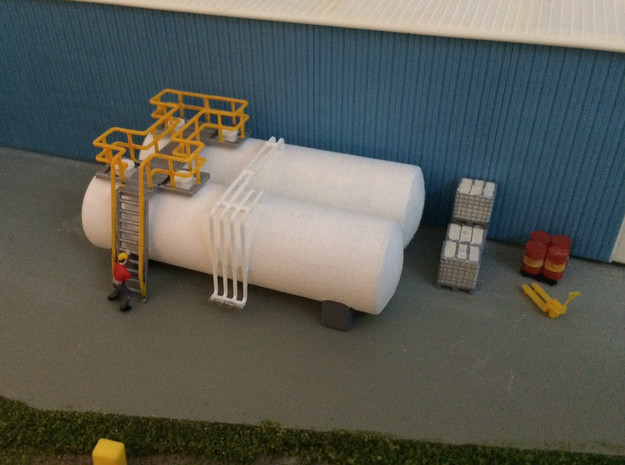 N Scale Tank Farm in White Natural Versatile Plastic