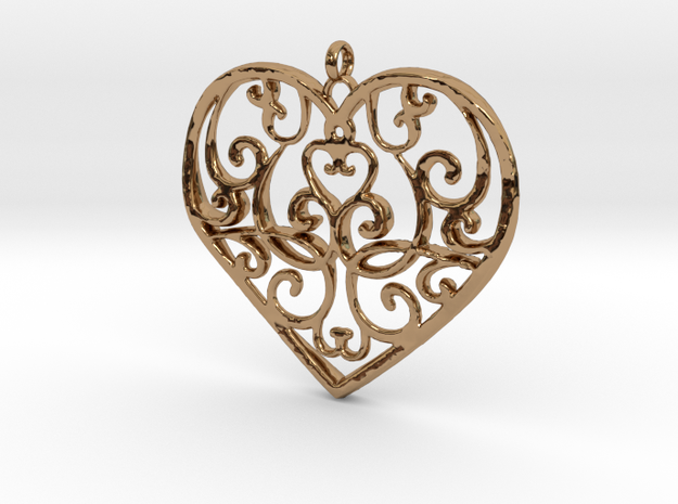 Filigree Antique Heart pendant in Polished Brass