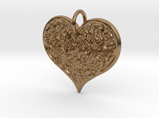 Filigree Engraved Heart pendant in Natural Brass