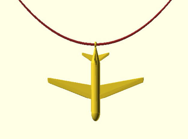 Boing 787 Pendant in Polished Gold Steel
