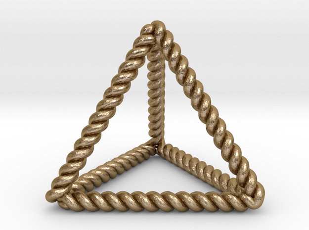 "Twisted Tetrahedron RH 1.5"" in Polished Gold Steel"