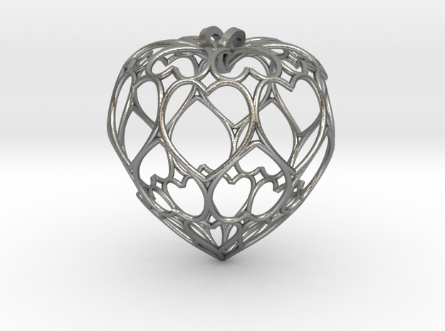 Filigree Round Drop Pendant in Raw Silver