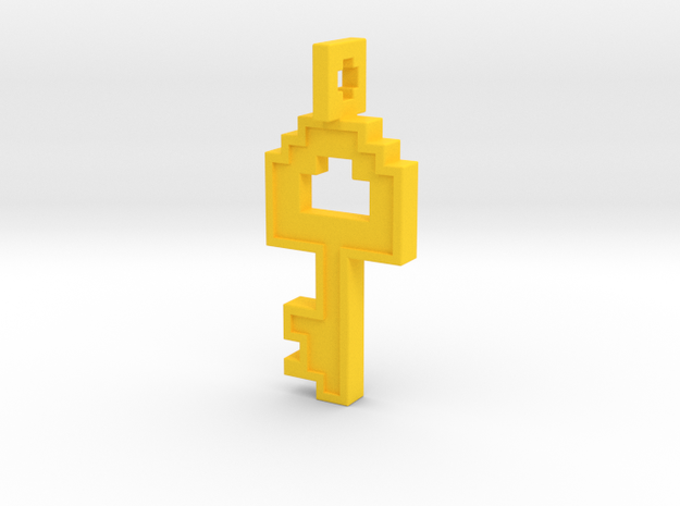 8-bit Key Pendant in Yellow Processed Versatile Plastic