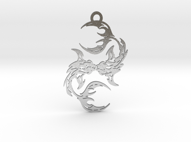 Pisces amulet in Raw Silver