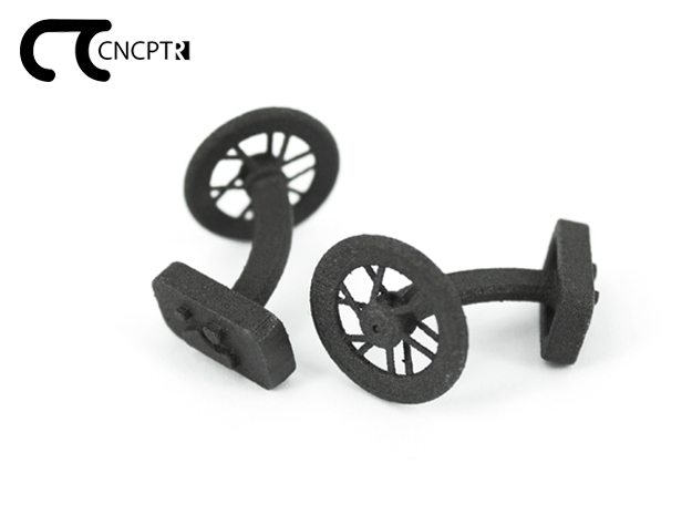 Concept R Bike Racing Wheel Cufflinks in Matte Black Steel