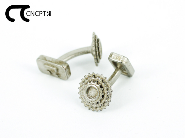Concept R Bike Cassette Cufflinks  in Polished Nickel Steel