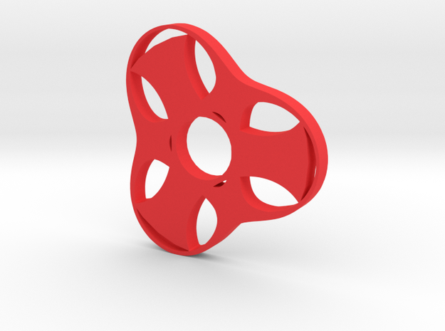 Trefoil Spinner - Red Strong & Flexible in Red Processed Versatile Plastic