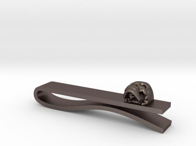 Skull Tie Bar 1 in Polished Bronzed Silver Steel