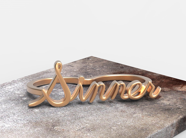 NEW! Sinner Script Ring (2-Finger) in Polished Bronze: 6 / 51.5