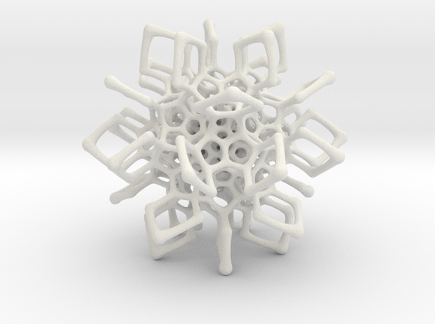 Christmas tree decoration ornament - 120cell_A3_r5 in White Natural Versatile Plastic: Small