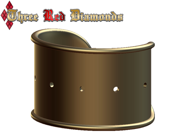 Cosplay Cuff Base (with holes for screw-back spike in White Natural Versatile Plastic: Medium