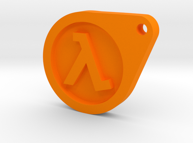 Half Life Dog Tag in Orange Strong & Flexible Polished