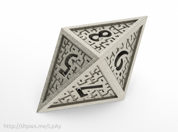 Hedron D8 Closed (Hollow), balanced gaming die in Polished Bronzed Silver Steel