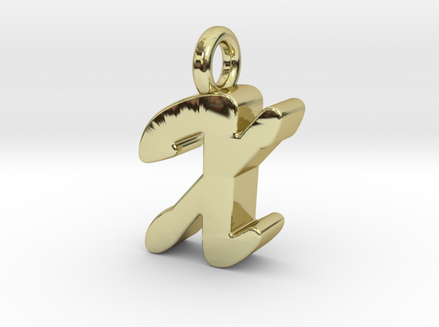 X - Pendant 3mm thk. in 18k Gold Plated Brass