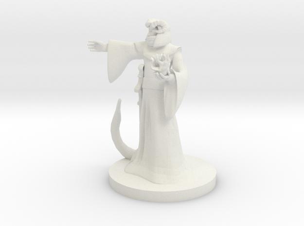 Tiefling Male Sorcerer / Warlock in White Natural Versatile Plastic