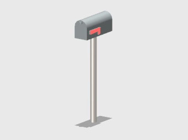 Residential Mailbox - Round Post (8 ea.) in Smooth Fine Detail Plastic: 1:87 - HO