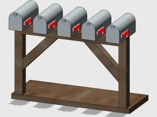 Rural Mailbox Cluster (1 ea.) in Smooth Fine Detail Plastic: 1:87 - HO