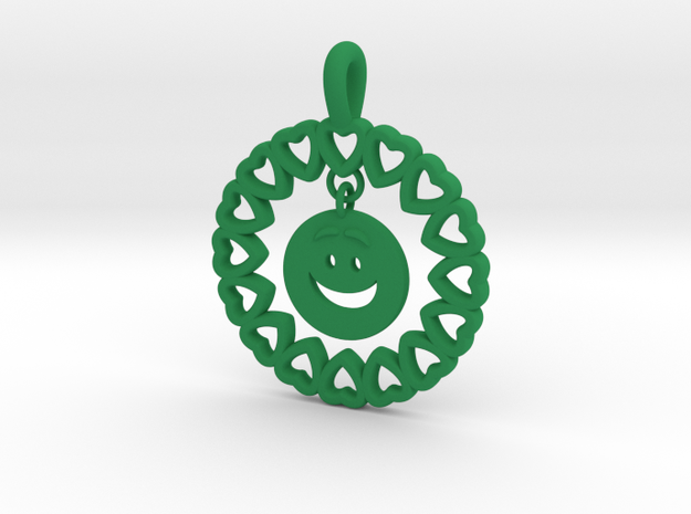 19- HEART CIRCLES Smiley FACE-Loops in Green Processed Versatile Plastic: Small