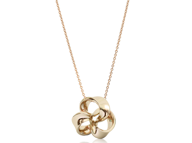 Flower of Ribbon Pendant(M) in 14k Rose Gold Plated