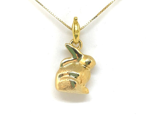 mini chocolate Easter bunny charm  in 18k Gold Plated Brass: Small