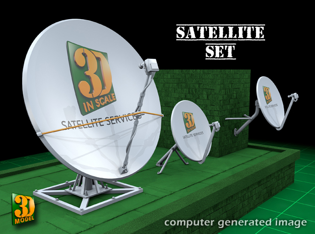 Satellite dish (30+60mm) - set in Smooth Fine Detail Plastic