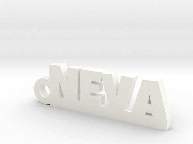 NEVA_keychain_Lucky in White Processed Versatile Plastic