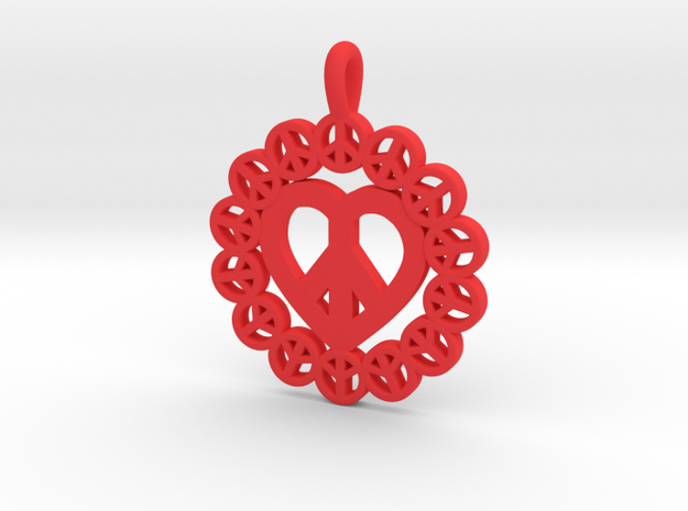 26 -PEACE-CIRCLES_pretzle heart.ZPR in Red Processed Versatile Plastic: Small